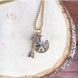 Wild Arrow Rose Quartz + Compass Necklace